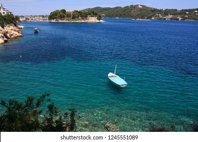 Greece, Skiathos, July 18 2017 - Beautiful Skiathos town on the Skiathos island in Greece