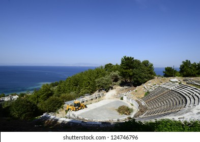 Greece, the small ancient theater on Thassos island