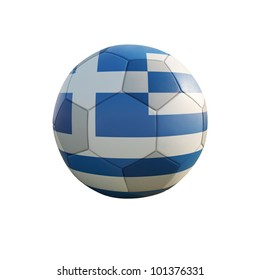 greece soccer ball isolated on white
