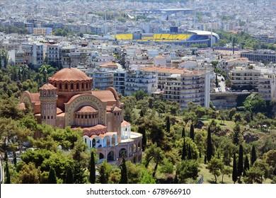 Greece, Thessaloniki aka Saloniki, cityscape with church Saint Paul aka Agios Pavlos, homes and stadium
