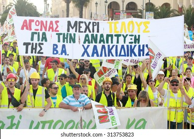 GREECE, Thessaloniki AUGUST 5, 2015: Miners and personnel from Eldorando Gold mine in Skouries, Halkidiki protest against the government's decision to suspend the mine's license.