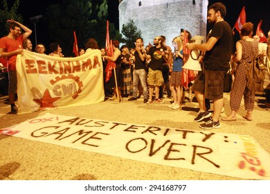 GREECE, Thessaloniki JULY 5, 2015: Supporters of the NO vote celebrate for the final NO result in the crucial greek referendum around the White Tower in Thessaloniki