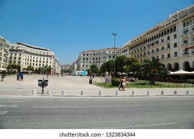 GREECE, THESSALONIKI, JUNE 10, 2013: People on Aristotelous Square in Thessaloniki, Greece