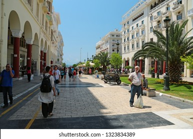 GREECE, THESSALONIKI, JUNE 10, 2013: People on the street near Aristotelous Square in Thessaloniki, Greece