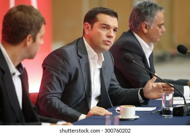 GREECE, Thessaloniki SEPTEMBER 15, 2013: - Alexis Tsipras (leader of SYRIZA political party and now Prime Minister of Greece) during a press conference at the 78th Thessaloniki International Fair