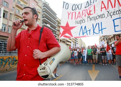 GREECE, Thessaloniki SEPTEMBER 5, 2015: Greek crisis. Members of various left wing parties protest at the opening of the 80th Thessaloniki International Fair (TIF)