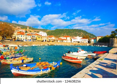 Greece, traditional fishing boats in main port of Nafpaktos in Central Greece