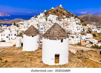 Greece travel. Cyclades. Traditional old windmills of Ios island. View of Chora village