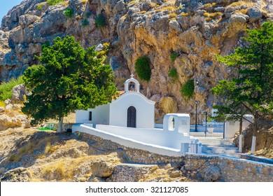 Greece trip in summer, Rhodos island, Lindos, church at St Pauls Bay