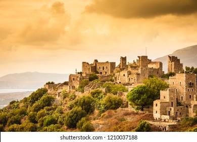 Greece Vatheia village. Old abandoned tower houses in Vathia Mani Peninsula, Laconia Peloponnese Europe.