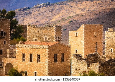 Greece Vatheia village. Old abandoned tower houses in Vathia Mani Peninsula, Laconia Peloponnese Europe.