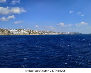 Greece, view on the island Mykonos in the sunny westger light