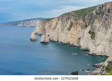 Greece, Zakynthos, Abrupt cliffs of western island coast