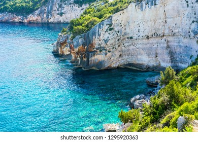 Greece, Zakynthos, Abrupt natural rocky cliffline at north coast of the island