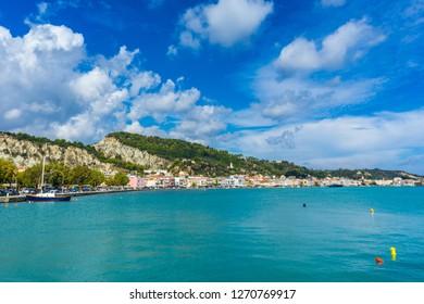 Greece, Zakynthos, Beautiful landscape of zante town along azure waters
