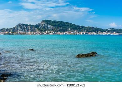 Greece, Zakynthos, Capital of the island zakynthos town from waterside