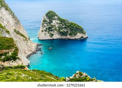 Greece, Zakynthos, Enchanting plakaki island at the coast of zante island
