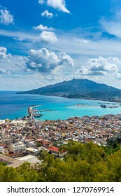 Greece, Zakynthos, Fantastic view from above over zakynthos city houses, harbor and ocean