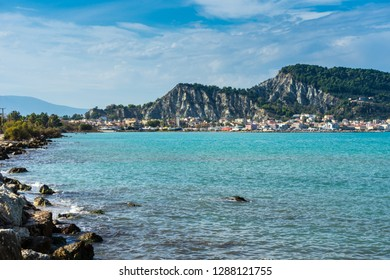 Greece, Zakynthos, Houses of coastal city zante town from water