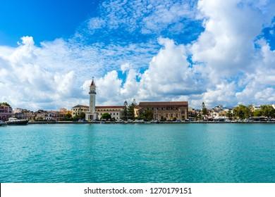 Greece, Zakynthos, Impressive skyline and church of zante town behind water