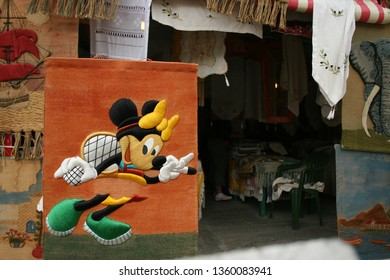 GREECE, ZAKYNTHOS island - 18 September 2008: a carpet with the image of the Minnie Mouse Walt Disney's cartoon heroine in one of the Greek shops