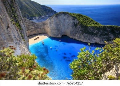 Greece, Zakynthos Island. Beautiful views of Navagio Bay