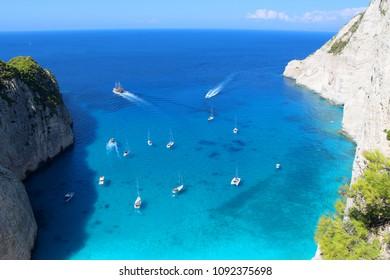 Greece Zakynthos ShipWreck View -  boat on emerald blue color beach