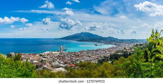 Greece, Zakynthos, XXL panorama of beautiful zakynthos city aerial perspective