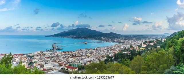 Greece, Zakynthos, XXL panorama of pretty little zakynthos city from above