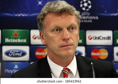 GREECE-ATHENS - FEB 24:Manchester United's  coach  David Moyes during the press conference for  the UEFA Champions League Last 16, at the Karaiskaki stadium in Piraeus on February 24,2014