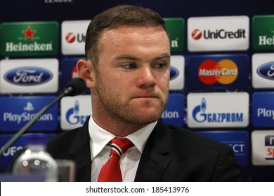 GREECE-ATHENS - FEB 24:Manchester United's  Wayne  Rooney during the press conference for  the UEFA Champions League Last 16 at the Karaiskaki stadium in Piraeus on February 24,2014