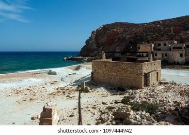 Greece,Cyclades Islands, Milos, 09/14/2012: mine of Thiorichia