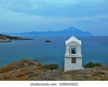 Greece-outlook of the mountain Athos from coast near town Sarti