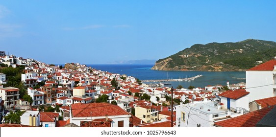 Greece-panoramic view on the town Skopelos on Skopelos Island