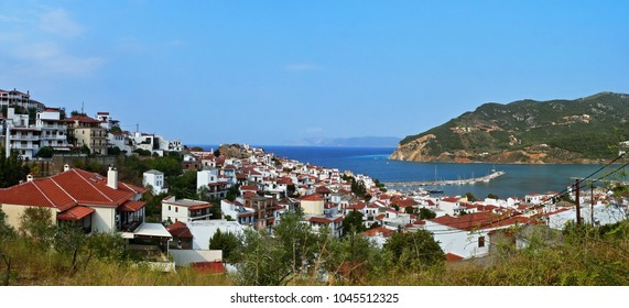 Greece-panoramic view on the town Skopelos on Skopelos Island
