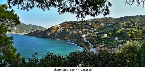 Greece-panoramic view of the seashore near town Skopelos on Skopelos Island