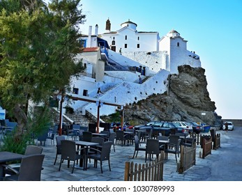 Greece-view of the church in town Skopelos