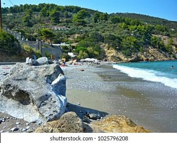 Greece-view of the Glifoneri beach near town Skopelos on Skopelos Island
