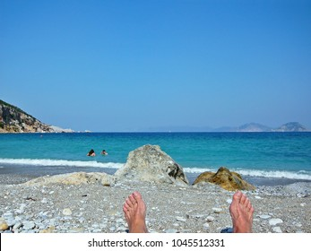 Greece-view from the Glifoneri beach near town Skopelos on Skopelos Island