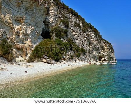 greeceview on lakka beach on island stock photo edit now 751368760