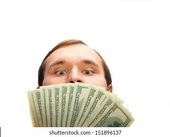 Greedy man with 100 dollar banknotes on the white background.
