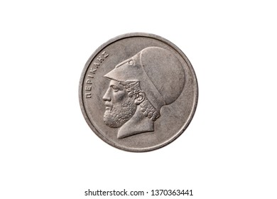 Greek 20 Drachma coin dated 1982 with a portrait image of  Pericles (495 – 429 BC) cut out and isolated on a white background