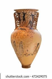 Greek amphora with a depiction of the blinding of Polyphemos by Odysseus and his companions (7th century BC).