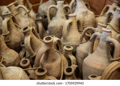 Greek amphorae in ancient town Tanais. Rostov-on-Don