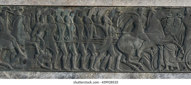 Greek ancient alike plaque at Great Alexander monument at Thessaloniki, Greece