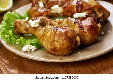 Greek  Baked Chicken  , cuisine , Traditional assorted dishes, Top view.