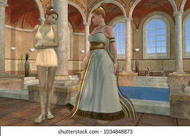 Greek Bath 3d illustration - A Greek mother talks with her very tall daughter about everyday things in ancient Greece.