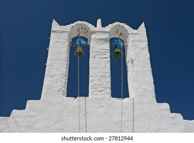 Greek bell tower with ropes
