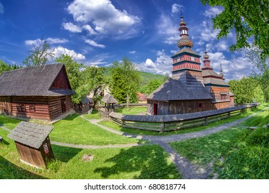 The Greek Catholic wooden church of the Protection of the Most Holy Mother of God from Mikulasova in Saris museum in Bardejov, Slovakia