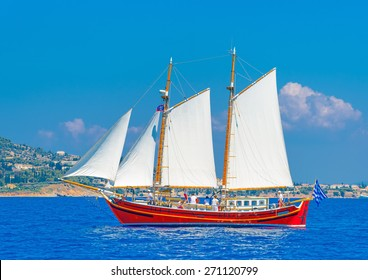 Greek classic sailing boat in Spetses island in Greece